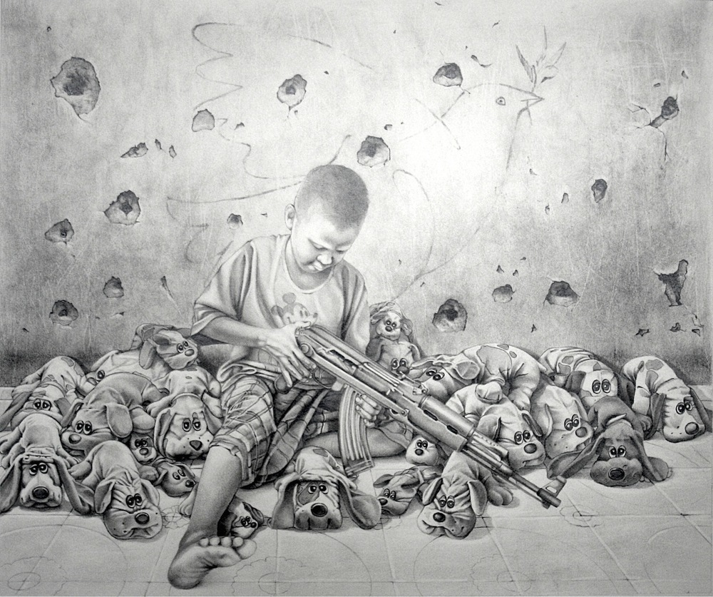 "Study for ""Too Many Puppies"" Graphite on Paper. 14"" X 17"""