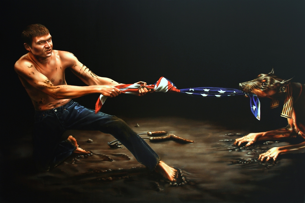 """Banking on a Myth"" Oil on Linen. 55"" X 80"""