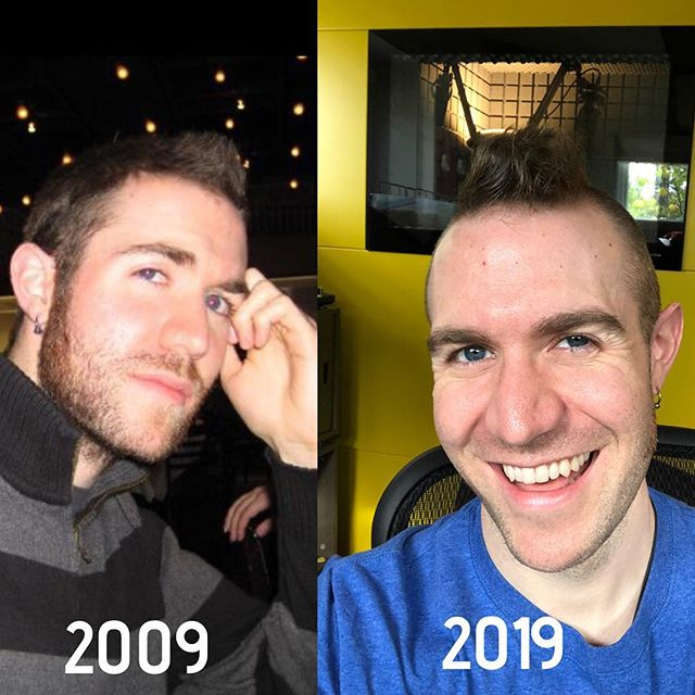 "One of these things is not like the other. And no, it isn't just the hairline 😂. I rarely smiled for the camera back then because ""it didn't make sense to fake a smile if I wasn't authentically smiling in the moment."" Translation: I wasn't very happy. A decade later, I've gone through a lot. And I'm living my dreams and happier than I've ever been. I don't take life so damn seriously anymore but still have plenty of challenges and always will. More big goals to tackle. More life obstacles to overcome. But I've really come a long way. I don't say it enough but I'm proud of myself. More importantly I couldn't have done any of this without the loved ones around me who've supported me every step of the way. Thank you. Thank you. Thank you ❤️❤️❤️. Now let's all lift each other up and kick some 2019 ass!! 🙌💪🙌🤟😎. . #2009vs2019 #reflection #growthmindset #life #grateful #ilovemyjob #dontgiveup #courage #selflove #empowerment"