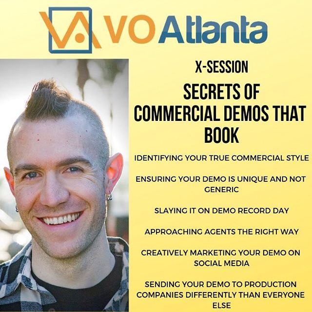 Going to be at @voatlanta next week? There's still a little bit of space in my small X-Session class: Secrets of Commercial Demos That Book.  3 hours. Only a handful of people. Loads of actionable information, tips, and advice! Details on the class are below. You can sign up in your VO Atlanta registration. See ya'll soon!! Jordan will expose all the secrets of preparing for, recording, and marketing your commercial demo like a boss. Whether you're brand new and it's your very first demo or your a veteran and it's your fifth demo — both your demo and marketing tactics must reflect your true self, stick out amongst the sea of vanilla demos, book you work, and land you agency representation. You'll leave this X-Session empowered to take control of your commercial demo journey. * How to identify your true commercial brand, personality, and style * How to know if you're truly ready for a new or updated commercial demo * What agents and buyers are listening for in 2019 * Red flags when looking for a demo producer * How to collaborate and prepare with your demo producer to ensure your demo is 100% genuinely YOU and not another bland, cookie cutter demo * How to bring your A-Game on demo recording day * How to properly approach agents all across the country with your new demo and not tick them off * How to masterfully share your demo for maximum impact on your website, Instagram, LinkedIn, Twitter, Facebook, Pay to Play websites, and more * How to look confident, and not desperate or amateur, when sending your demo to production companies, producers, and casting directors * And much more  #voatlanta #voiceover #demoproduction #vo #acting #vodemos #commercials #marketing #branding #agents