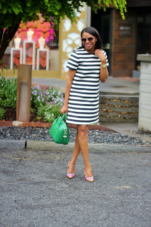 kate spade, stripes, stripe dress, floral, floral print, floral shoes, floral pumps, sheet dress, short dress, green bag, givenchy bag, antigona bag, michele watch, gold watch, crawler earrings, shopbop, shops around lenox, atlanta, shopping, nordstrom,  manolo blahnik shoes, manolo blahnik  bb pumps, bb pumps, pink bag, fuschia bag, valentino bag, lock bag, medium lock bag, chain bag,  celine, celine sunglasses,  BLACK SUNGLASSES, SPRING TRENDS, SPRING FASHION, SPRING STYLE, fashion, fashion friday, tgif,  reed krakoff cuff, silver cuff, reed krakoff,   FASHON, STYLE, FASHION BLOG, FASHION BLOGGER, F BLOGGER, STYLE BLOG, STYLEBLOGGER, STYLIST, STYLISH, STREETSTYLE, PERSONAL STYLE, PERSONAL STYLE BLOGGER, BLOGGER, BLOG, INSTA STYLE, INSTA FASHION, WHAT TO WEAR, OOTD, FASHION OF THE DAY, STYLE OF THE DAY, FASHION AND STYLE, winter STYLE, WHAT TO WEAR FOR This season, MUST HAVE, winter TRENDS, fashion TRENDS  , Atlanta blogger
