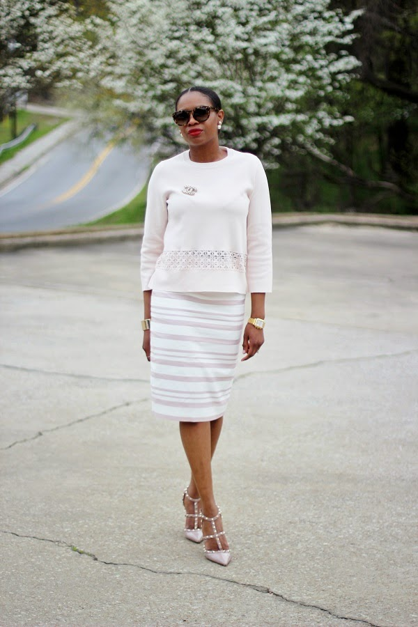 j crew, classic, fashion, chic, monochromatic, nude ootd, monochromatic outfit, Valentino, rockstuds, rock studs, valentino rockstuds, chanel, chanel pin, chanel brooch, celine, celine sunglasses, Michele, Michele watch, CHRISTIAN DIOR EARRRINGS, HAIR IN A BUN, PONYTAIL, RED LIPS, ASOS, ASOS MIDI SKIRT, GREEN SKIRT, GOLD SKIRT, ROCKSTUDS, VALENTINO ROCKS STUD, VALENTINO SHOES, LAER BRAND JACKET, LAER BRAND, WCW, WEDNESDAY, WOW,   oversized sunglasses, hair in a pony tail, atlanta blogger, WOW, WEDNESDAY, WCW, blogger, blog fashion blog, KRAKOFF, REED KRAKOFF, MIDDLE PART, HAIR STYLES, MIDDLE PART BUM, SILVER CUFF, ATLANTA BLOGGER, BLOGGER STYLE, ASHON, STYLE, FASHION BLOG, FASHION BLOGGER, F BLOGGER, STYLE BLOG, STYLEBLOGGER, STYLIST, STYLISH, STREETSTYLE, PERSONAL STYLE, PERSONAL STYLE BLOGGER, BLOGGER, BLOG, INSTA STYLE, INSTA FASHION, WHAT TO WEAR, OOTD, FASHION OF THE DAY, STYLE OF THE DAY, FASHION AND STYLE, winter STYLE, WHAT TO WEAR FOR This season, MUST HAVE, winter TRENDS, fashion TRENDS, blogger style,