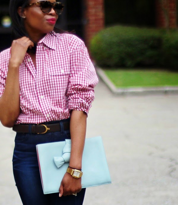 gingham, boyfriend shirt, nordstrom, j crew, madewell, high riser jeans, high waist jeans, blue jeans, jeans, gucci, gucci belt, crawler earrings, earrings, valentino, rocks studs, valentino rocks studs, celine, tortoise shell, tortoise sunglasses, celine sunglasses, celine clutch, blue clutch, blue bag, red lips, red lipstick, michele watch, gold watch, SPRING TRENDS, SPRING FASHION, SPRING STYLE, fashion, fashion friday, tgif,  reed krakoff cuff, silver cuff, reed krakoff,   FASHON, STYLE, FASHION BLOG, FASHION BLOGGER, F BLOGGER, STYLE BLOG, STYLEBLOGGER, STYLIST, STYLISH, STREETSTYLE, PERSONAL STYLE, PERSONAL STYLE BLOGGER, BLOGGER, BLOG, INSTA STYLE, INSTA FASHION, WHAT TO WEAR, OOTD, FASHION OF THE DAY, STYLE OF THE DAY, FASHION AND STYLE, winter STYLE, WHAT TO WEAR FOR This season, MUST HAVE, winter TRENDS, fashion TRENDS  , Atlanta blogger
