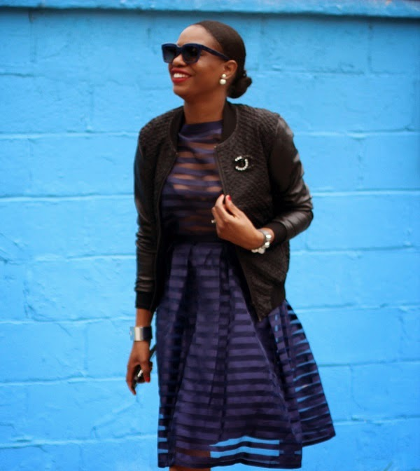 midi skirt, asos, stripe sheer top, stripe sheer skirt, crop top, bec and bridge, leather jacket, bomber jacekt, chanel pin, chanel brooch, alexander wang, alexander wang sandals, strappy sandals, blue sunglasses, celine sunglasses, dior, dior earrings, tribal earrings, fashion blogger, fashion blog, style blogger, style, fashion, style blog, blogger style, ootd, mcm, what i wore, what to wear, fall fashion, fall trends, fall, asos loves, asseenonme, black bloggers, african blogger, atlanta blogger