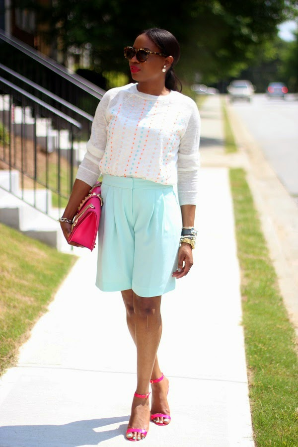 j crew, shorts, Bermuda shorts, long shorts, summer shorts, green shorts, j crew shorts, mint green shorts, sequin top, j crew top, summer sweater, pink bag, valentino bag, valentino pink bag, rock sutds, rocksstuds, rock stud bag, pink shoes, pink sandals, manolo blahnik, chaos sandals, manolo blahnik chaos sandal, celine sunglasses, christian dior, rocks studs, valentino rocks studs, celine, tortoise shell, tortoise sunglasses, celine sunglasses, celine clutch, blue clutch, blue bag, red lips, red lipstick, michele watch, gold watch, SPRING TRENDS, SPRING FASHION, SPRING STYLE, fashion, fashion friday, tgif,  reed krakoff cuff, silver cuff, reed krakoff,   FASHON, STYLE, FASHION BLOG, FASHION BLOGGER, F BLOGGER, STYLE BLOG, STYLEBLOGGER, STYLIST, STYLISH, STREETSTYLE, PERSONAL STYLE, PERSONAL STYLE BLOGGER, BLOGGER, BLOG, INSTA STYLE, INSTA FASHION, WHAT TO WEAR, OOTD, FASHION OF THE DAY, STYLE OF THE DAY, FASHION AND STYLE, winter STYLE, WHAT TO WEAR FOR This season, MUST HAVE, winter TRENDS, fashion TRENDS  , Atlanta blogger