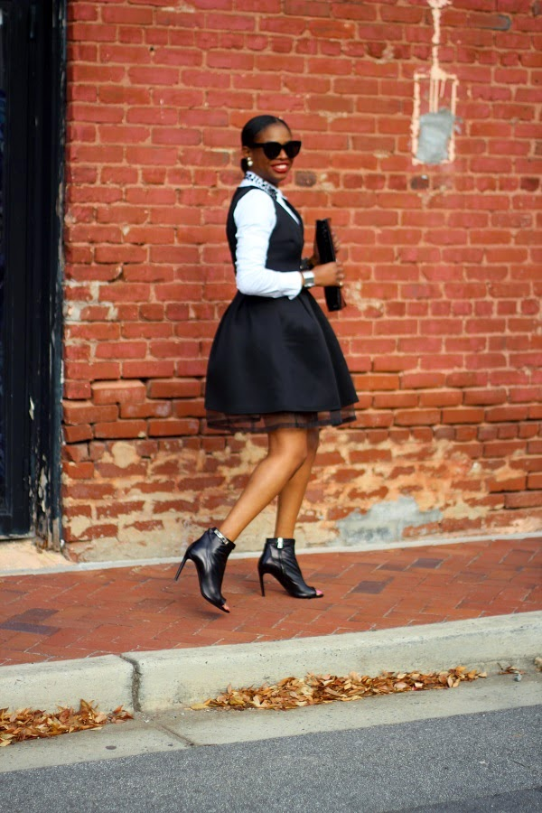 SKATER DRESS, BLACK DRESS, LBD, white shirt, asos, scuba dress, black dress, short dress, ann taylor, proenza schouler, booties, black booties, prada clutch, black clutch, black bag, patent leather bag, patent leather clutch, christian dior, tribal earrings, celine sunglasses, celine, black sunglasses, wcw, oversized sunglasses, ATLANTA BLOGGER, CELINE SUNGLASSES, BLACK SUNGLASSES, CHRISTIAN DIOR EARRINGS, TRIBAL EARRINGS, FASHON, STYLE, FASHION BLOG, FASHION BLOGGER, F BLOGGER, STYLE BLOG, STYLEBLOGGER, STYLIST, STYLISH, STREETSTYLE, PERSONAL STYLE, PERSONAL STYLE BLOGGER, BLOGGER, BLOG, INSTA STYLE, INSTA FASHION, WHAT TO WEAR, OOTD, FASHION OF THE DAY, STYLE OF THE DAY, FASHION AND STYLE, MONDAY MODIVATION, STYLE, WHAT TO WEAR FOR THE , MUST HAVE, WINTER TRENDS, BLOGGER STYLE TRENDS