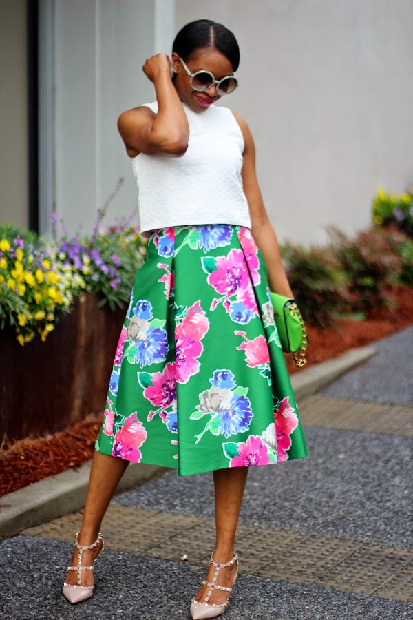 ASOS, CROP TOP, WHITE TOP, WHITE CROP TOP, ASOS CROP TOP, FLORAL SKIRT, KATE SPADE SKIRT, KATE SPADE FLORAL SKIRT, MIDI SKIRT, KATE SPADE MIDI SKIRT, ROCKS STUDS, ROCK STUDS, VALENTINO SHOES, VALENTINO ROCK STUDS, NUDE SHOES, BEIGE SHOES, ROUND SUNGLASSES, TOM FORD, TOM FORD SUNGLASSES, TOM FORD ROUND SUNGLASSES, PONY TAIL, REED KRAKOFF, REED KRAKOFF BAG, ANARCHY, ANARCHY BAG, REED KRAKOFF ANARCHY BAG, CRAWLER EARRINGS, SHOP BOP, GORJANA, MICHELE WATCH, GOLD BAG, FLORAL SHOES, MONDAY MOTIVATION,  floral, floral print, floral shoes, floral pumps, sheet dress, short dress, green bag, givenchy bag, antigona bag, michele watch, gold watch, crawler earrings, shopbop, shops around lenox, atlanta, shopping, nordstrom,  manolo blahnik shoes, manolo blahnik  bb pumps, bb pumps, pink bag, fuschia bag, valentino bag, lock bag, medium lock bag, chain bag,  celine, celine sunglasses,  BLACK SUNGLASSES, SPRING TRENDS, SPRING FASHION, SPRING STYLE, fashion, fashion friday, tgif,  reed krakoff cuff, silver cuff, reed krakoff,   FASHON, STYLE, FASHION BLOG, FASHION BLOGGER, F BLOGGER, STYLE BLOG, STYLEBLOGGER, STYLIST, STYLISH, STREETSTYLE, PERSONAL STYLE, PERSONAL STYLE BLOGGER, BLOGGER, BLOG, INSTA STYLE, INSTA FASHION, WHAT TO WEAR, OOTD, FASHION OF THE DAY, STYLE OF THE DAY, FASHION AND STYLE, winter STYLE, WHAT TO WEAR FOR This season, MUST HAVE, winter TRENDS, fashion TRENDS  , Atlanta blogger