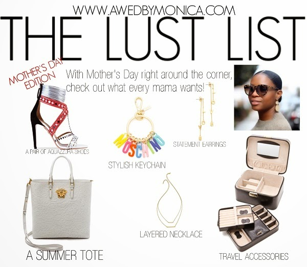 SHOPPING LIST, SHOPPING, WHAT TO BUY, MUST HAVE, WHAT A GIRL WANTS, MOTHER'S DAY GIFT IDEAS, AQUAZZURA, VERSACE, WHITE BAG, TRAVEL BAG, MOSCHINO KEYCHAIN, JENIFER ZEUNER NECKLACE, LAYERED NECKLACE, pring trends, fashion style, fringe skirt, suede skirt, Karen walker sunglasses, Karen walker, 3.1 Phillip Lim pashli bag, Phillip Lim bags, pastel color bags, pastels, sunglasses, spring styles, spring fashion, open toe booties, rag and bone booties, gladiator sandals, schutz, Schutz sandals, stuart wetizman gladiator sandals, vince shoes, suede jacket, suede pants, suede bag, suede fringe bag, suede skirt, MICHAEL KORS, BACKPACK, WHITE BAG, MIDI SKIRT, BODYCON DRESS, TORN BY RONNY, 5TH AND MERCER, LONG SLEEVE DRESS, KURT GEIGER LONDON, SHOP STYLE, TGIT, TBT, WHAT TO BUY, LFW, NYFW, JUMPSUIT, ROMPER, AWED BY MONI, STYLE BLOGGER, BLOGGER STYLE, ATLANTA BLOGGER