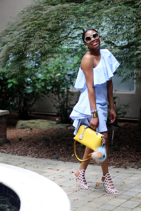OFF THE SHOULDER, blue dress, midi dress, yellow bag, fendi bag, monster bag, summer dress, round sunglasses, tom ford sunglasses, christian dior, double earrings, 360 earrings, schutz, white shoes, julianna, cage sandals, white sandals, schutz shoes, schutz julianna sandal, fashion friday, friday, a walk in the parth, yellow bag, SPRING TRENDS, SPRING FASHION, SPRING STYLE, fashion, fashion friday, tgif,  reed krakoff cuff, silver cuff, reed krakoff,   FASHON, STYLE, FASHION BLOG, FASHION BLOGGER, F BLOGGER, STYLE BLOG, STYLEBLOGGER, STYLIST, STYLISH, STREETSTYLE, PERSONAL STYLE, PERSONAL STYLE BLOGGER, BLOGGER, BLOG, INSTA STYLE, INSTA FASHION, WHAT TO WEAR, OOTD, FASHION OF THE DAY, STYLE OF THE DAY, FASHION AND STYLE, winter STYLE, WHAT TO WEAR FOR This season, MUST HAVE, winter TRENDS, fashion TRENDS  , Atlanta blogger
