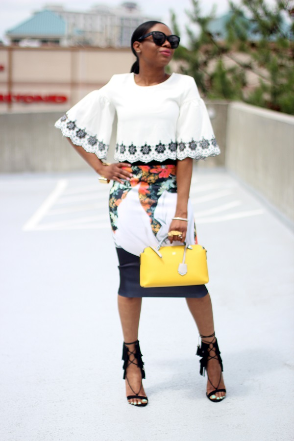 croptop, glamorous, shopbop, white crop top, white and black crop top, shopbop tops, clover canyon, glamorous crop top, clover canyon skirt, scuba skirt, scuba midi skirt, floral skirt, floral midi skirt, yellow bag, yellow fendi bag, by the way bag, crawler earrings, hair in a pony tail, hair trends, celine, celine sunglasses, schutz, schutz sandals, fringe sandals, black sandals, ippolita, silver bracelet, gold cuff, reed krakoff, reed krakoff cuff, gorjana, gorjana crawler earrings,  MONDAY, MONDAY MOTIVATION, MCM, NEW WEEK, STYLE INSPIRATION, WOMENSFASHON, MONDAY MORNING, FASHON, STYLE, FASHION BLOG, FASHION BLOGGER, F BLOGGER, STYLE BLOG, STYLEBLOGGER, STYLIST, STYLISH, STREETSTYLE, PERSONAL STYLE, PERSONAL STYLE BLOGGER, BLOGGER, BLOG, INSTA STYLE, INSTA FASHION, WHAT TO WEAR, OOTD, FASHION OF THE DAY, STYLE OF THE DAY, FASHION AND STYLE, winter STYLE, WHAT TO WEAR FOR This season, MUST HAVE, summer, summer fashion, summer style, summer TRENDS, fashion TRENDS  , Atlanta blogger