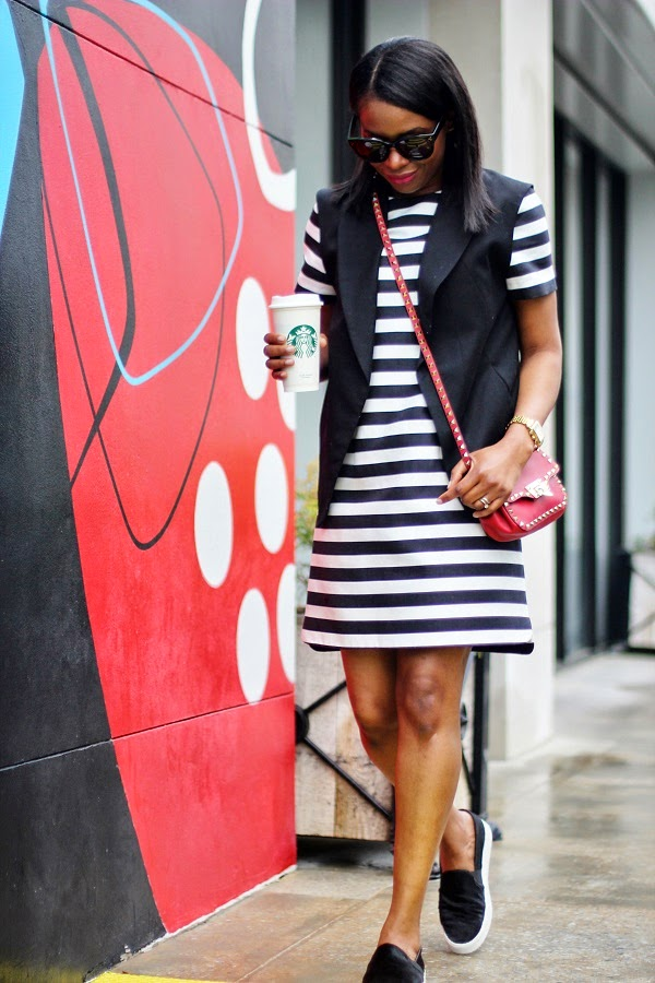 STRIPES, VEST, MOD DRESS, KATE SPADE, STRIPE DRESS, vince flat slip on sneakers, BLACK VEST, RED BAG, ZARA, VALENTINO BAG, ROCKSTUD, CELINE SUNGALSSES, vince, sneakers, slip ons, starbucks, michele watch, gold watch, fashion friday, casual friday, friday,  valentino, rocks studs, rocksstuds, naural hair, shoes around Lenox, michele watch,  nordstrom, j crew, madewell, high riser jeans, high waist jeans, blue jeans, jeans, gucci, gucci belt, crawler earrings, earrings, valentino, rocks studs, valentino rocks studs, celine, tortoise shell, tortoise sunglasses, celine sunglasses, celine clutch, blue clutch, blue bag, red lips, red lipstick, michele watch, gold watch, SPRING TRENDS, SPRING FASHION, SPRING STYLE, fashion, fashion friday, tgif,  reed krakoff cuff, silver cuff, reed krakoff,   FASHON, STYLE, FASHION BLOG, FASHION BLOGGER, F BLOGGER, STYLE BLOG, STYLEBLOGGER, STYLIST, STYLISH, STREETSTYLE, PERSONAL STYLE, PERSONAL STYLE BLOGGER, BLOGGER, BLOG, INSTA STYLE, INSTA FASHION, WHAT TO WEAR, OOTD, FASHION OF THE DAY, STYLE OF THE DAY, FASHION AND STYLE, winter STYLE, WHAT TO WEAR FOR This season, MUST HAVE, winter TRENDS, fashion TRENDS  , Atlanta blogger