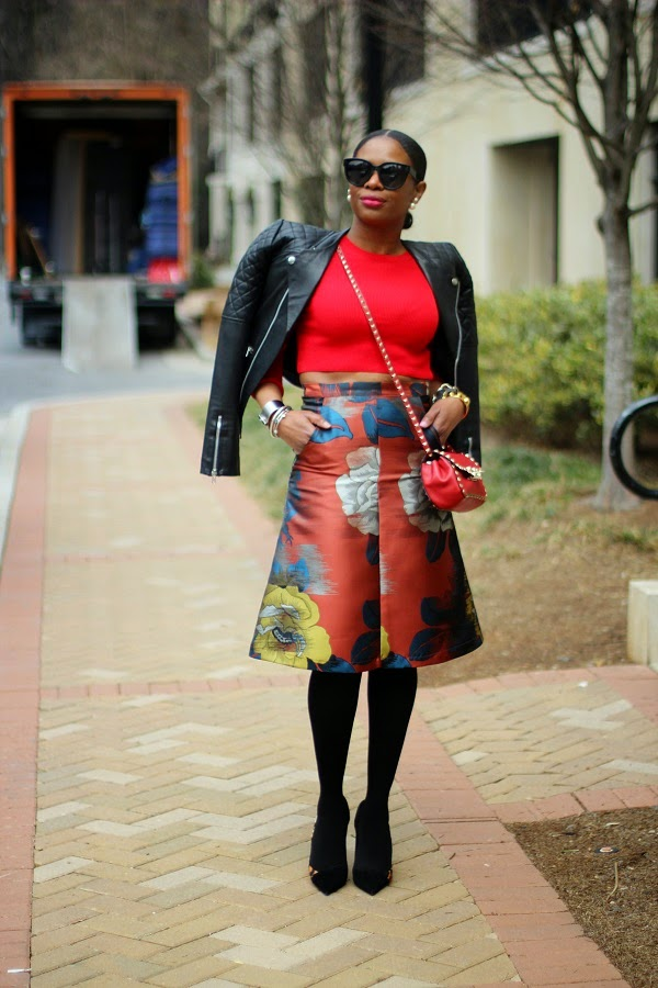 TOP SHOP, TOPSHOP, FLORAL SKIRT, MIDI SKIRT, FLORAL MIDI SKIRT, SPANX TIGHTS, SPANX hosiery, black tights, black panty hoes, pantyhoes, leopard shoes, leopard print shoes, christian dior shoes, black suede pumps, crop top, nordstrom, red crop top, asos, tribal earrings, 360 earrings, celine sunglasses, black sunglasses, valentino Valentino rockstuds, red bag, red valentino rockstud bag,  spring trends, fashion trends,  christian dior, 360 earrings, tribal earrings, reed krakoff, celine sunglasses, sunglasses, oversized sunglasses, hair in a pony tail,  atlanta blogger, ,monday motivation, monday, blogger, blog fashion blog, KRAKOFF, REED KRAKOFF, MIDDLE PART, HAIR STYLES, MIDDLE PART BUM, SILVER CUFF, ATLANTA BLOGGER, BLOGGER STYLE, ASHON, STYLE, FASHION BLOG, FASHION BLOGGER, F BLOGGER, STYLE BLOG, STYLEBLOGGER, STYLIST, STYLISH, STREETSTYLE, PERSONAL STYLE, PERSONAL STYLE BLOGGER, BLOGGER, BLOG, INSTA STYLE, INSTA FASHION, WHAT TO WEAR, OOTD, FASHION OF THE DAY, STYLE OF THE DAY, FASHION AND STYLE, winter STYLE, WHAT TO WEAR FOR This season, MUST HAVE, winter TRENDS, fashion TRENDS, blogger style,
