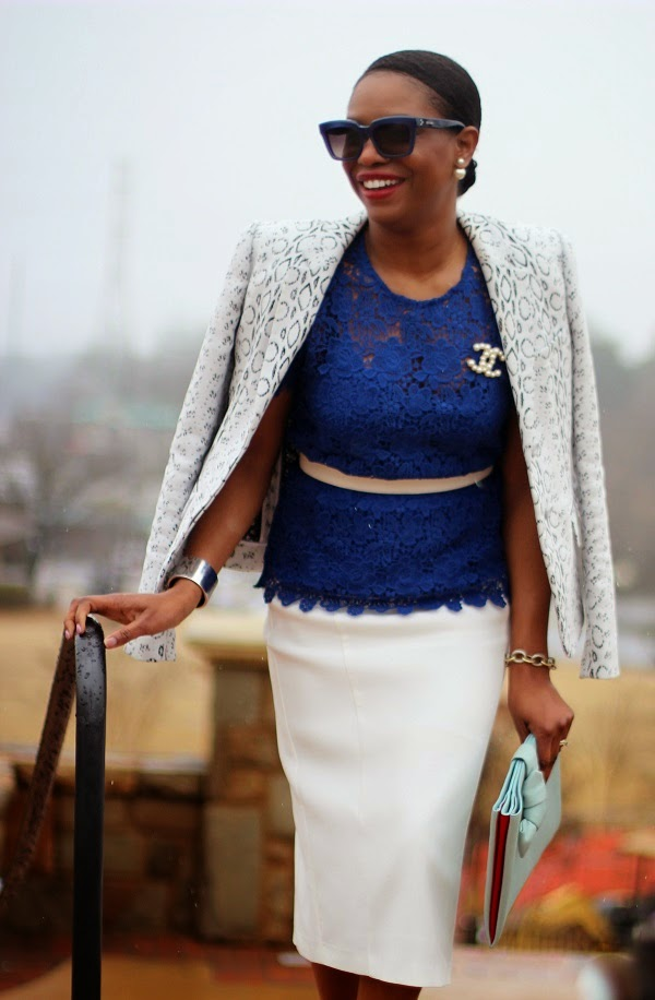 Ladyee boutique, cobalt blue, lace top, blue top, cobalt, blue, black and white, black and white jacket, reed krakoff jacket, black and white blazer, white blazer, black blazer, chanel pin, chanel, chanel brooch, white skirt, midi skrit, pencil skirt, asos, asos skirt, asos midi skirt, floral print, floral shoes, floral print shoes, manolo blahnik, pumps, floral pumps, spring trends, fashion trends, blue sunglasses, christian dior, 360 earrings, tribal earrings, reed krakoff, celine sunglasses, sunglasses, oversized sunglasses, hair in a pony tail,  atlanta blogger, ,monday motivation, monday, blogger, blog fashion blog, KRAKOFF, REED KRAKOFF, MIDDLE PART, HAIR STYLES, MIDDLE PART BUM, SILVER CUFF, ATLANTA BLOGGER, BLOGGER STYLE, ASHON, STYLE, FASHION BLOG, FASHION BLOGGER, F BLOGGER, STYLE BLOG, STYLEBLOGGER, STYLIST, STYLISH, STREETSTYLE, PERSONAL STYLE, PERSONAL STYLE BLOGGER, BLOGGER, BLOG, INSTA STYLE, INSTA FASHION, WHAT TO WEAR, OOTD, FASHION OF THE DAY, STYLE OF THE DAY, FASHION AND STYLE, winter STYLE, WHAT TO WEAR FOR This season, MUST HAVE, winter TRENDS, fashion TRENDS, blogger style,