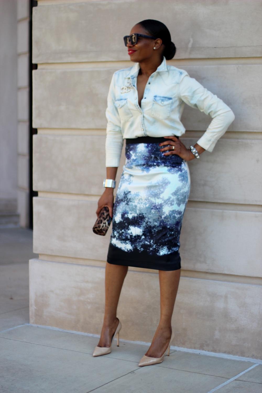 denim shirt and midi skirt