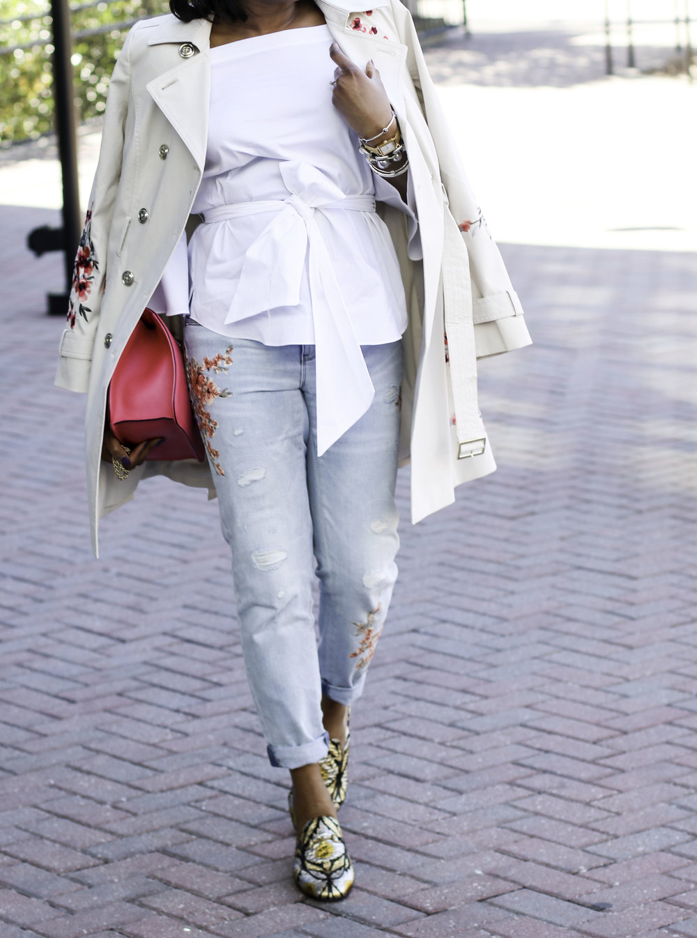 WHITE OFF THE SHOULER BLOUSE WITH FLORAL PRINT JEANS, AND TRENCH COAT.jpg
