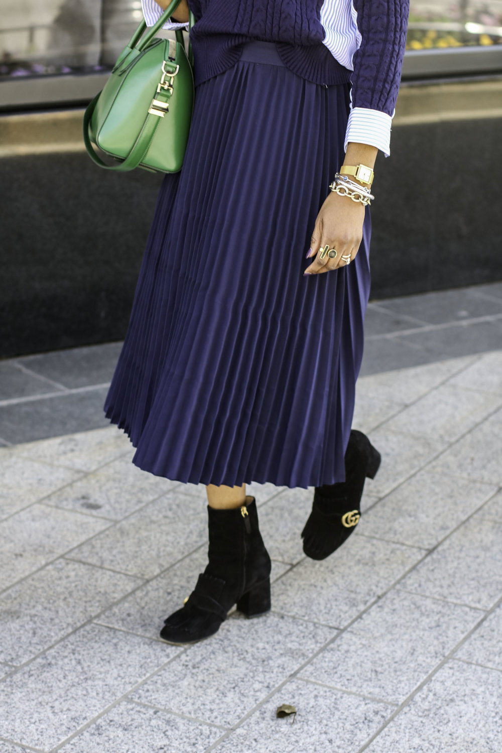 PLEATED SKIRT AND GUCCI BOOTIES .jpg