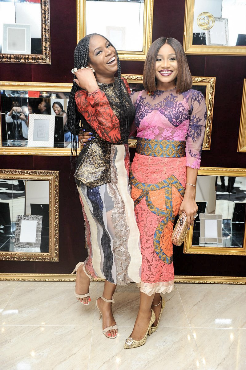 With Florence H. owner Abisola Kola-Daisi both wearing Nigerian coutoure designer Odio Mimonet.