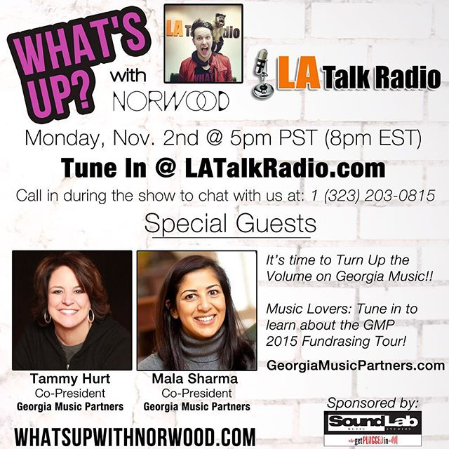 TUNE IN to LATalkRadio.com TONIGHT as we chat with @gamusicpartners Co-Presidents @tammyhurt & Mala Sharma!  MUSIC LOVERS - this is one you DON'T wanna miss ✌🏻🎵 #whatsupwithnorwood #LATalkRadio
