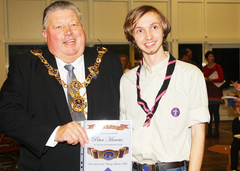 Me being presented with my Young Leader's Belt from Cllr. Frank Jonas BEM. The Young Leaders programme is a part of Scouting which gives 14-18-year-olds the chance to develop leadership skills.