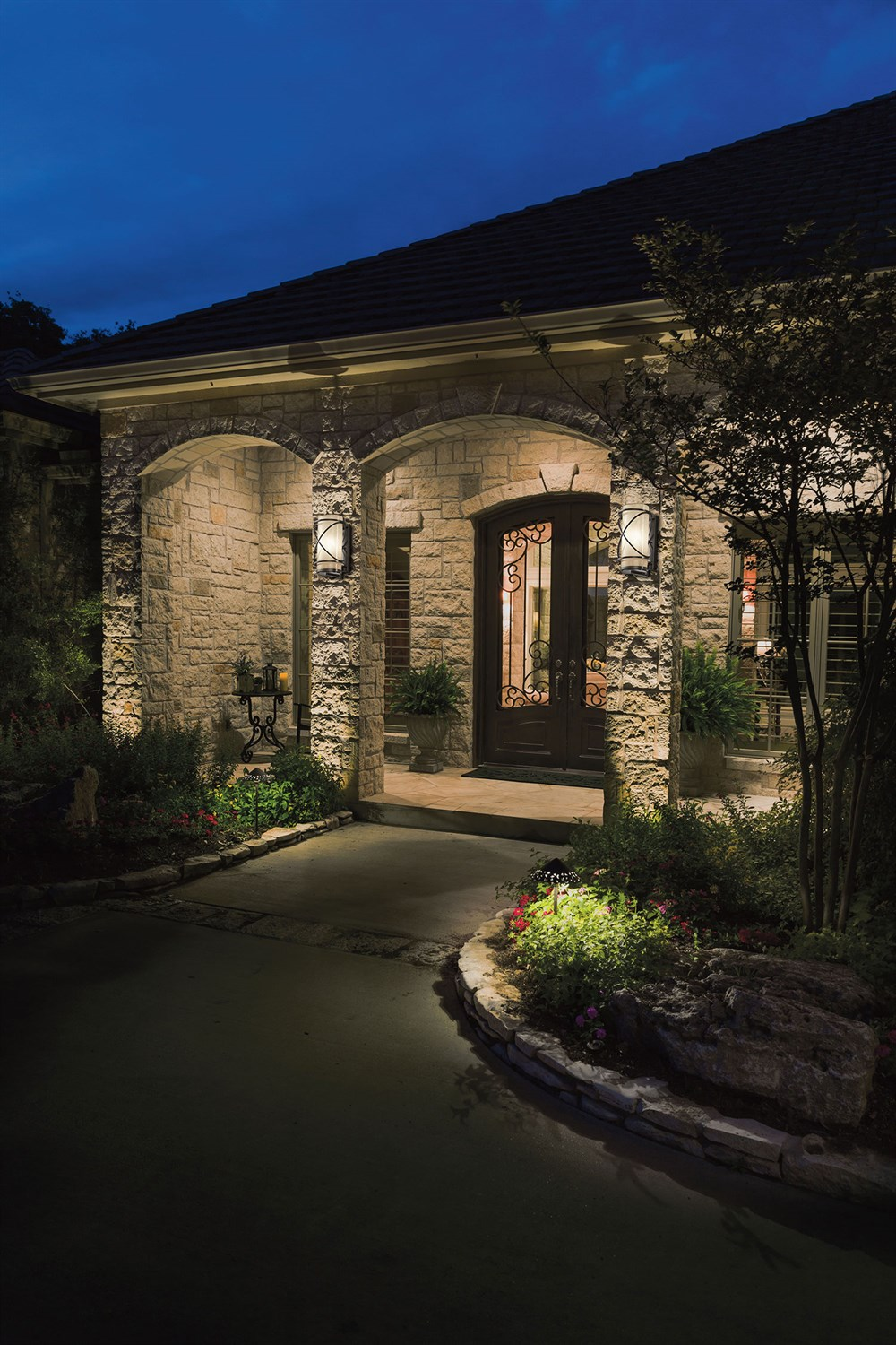 Trafari Outdoor Glass and Bronze Wall Lamps