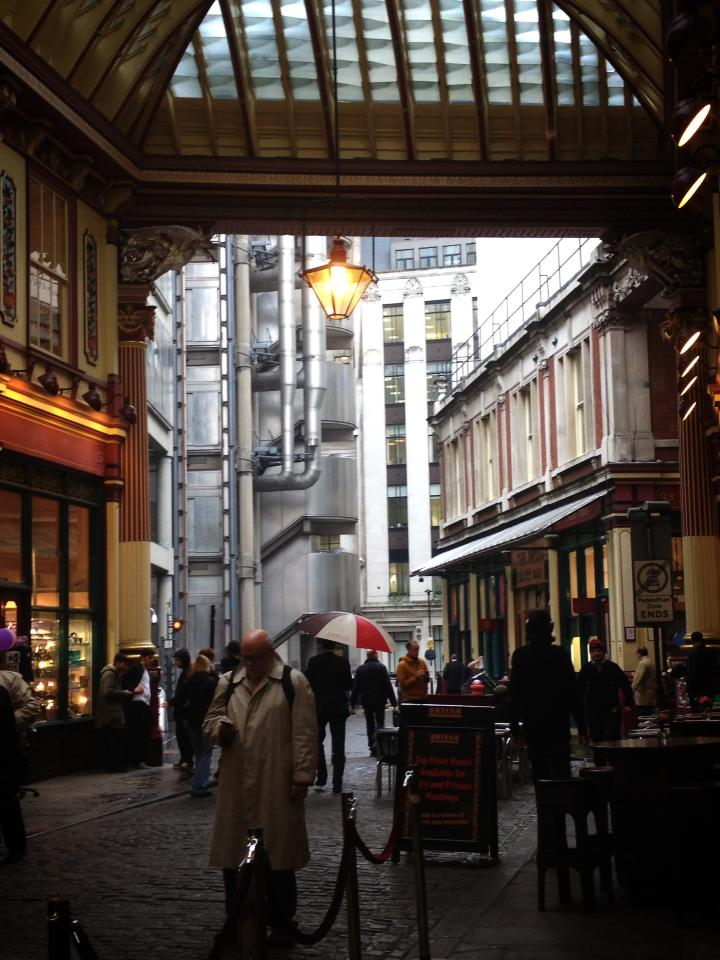 View of Lloyd's from Leadenhall Market, London, United Kingdom