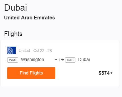Washington DC to Dubai