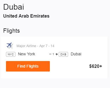 NYC to Dubai