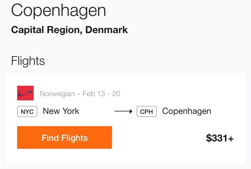 New York to Copenhagen