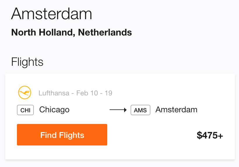 Cheap Flight to Amsterdam from Chicago