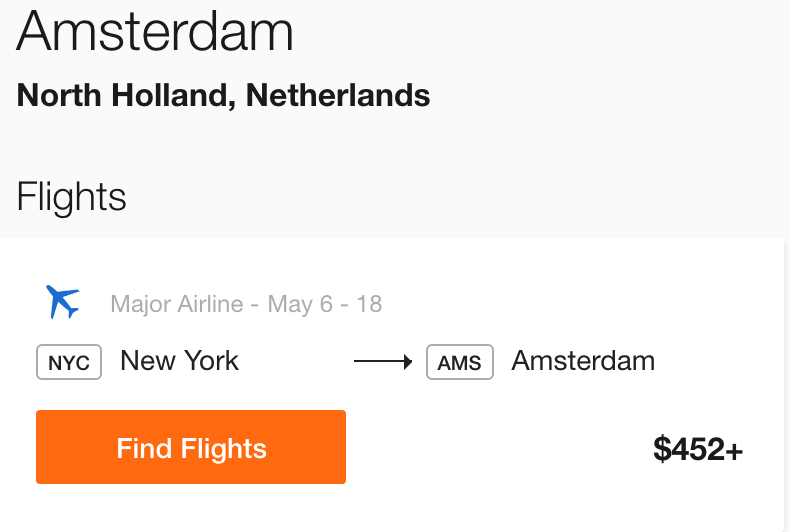 Cheap Flight to Amsterdam from New York