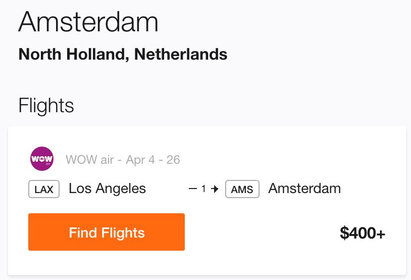 Cheap flight to Amsterdam from LA