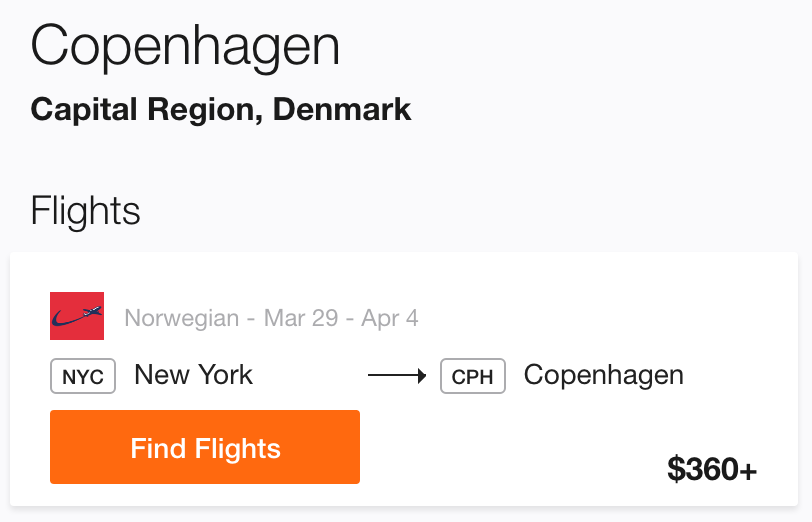 New York to Copenhagen Cheap Flight