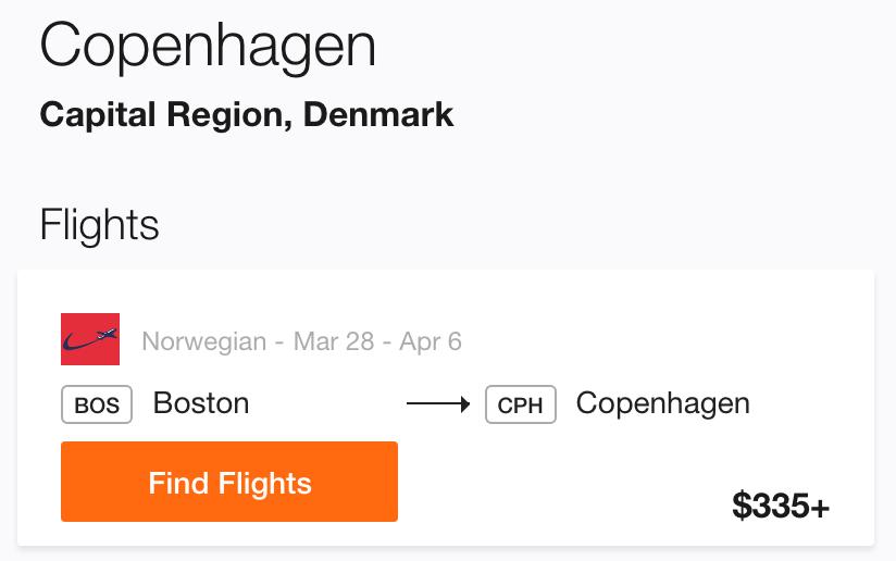 Boston to Copenhagen Cheap Flight