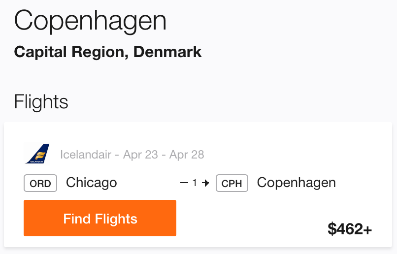Chicago to Copenhagen Cheap Flight
