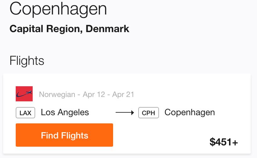 LA to Copenhagen Cheap Flight