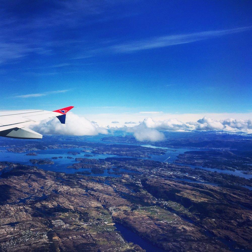 Plane Wing over Bergen