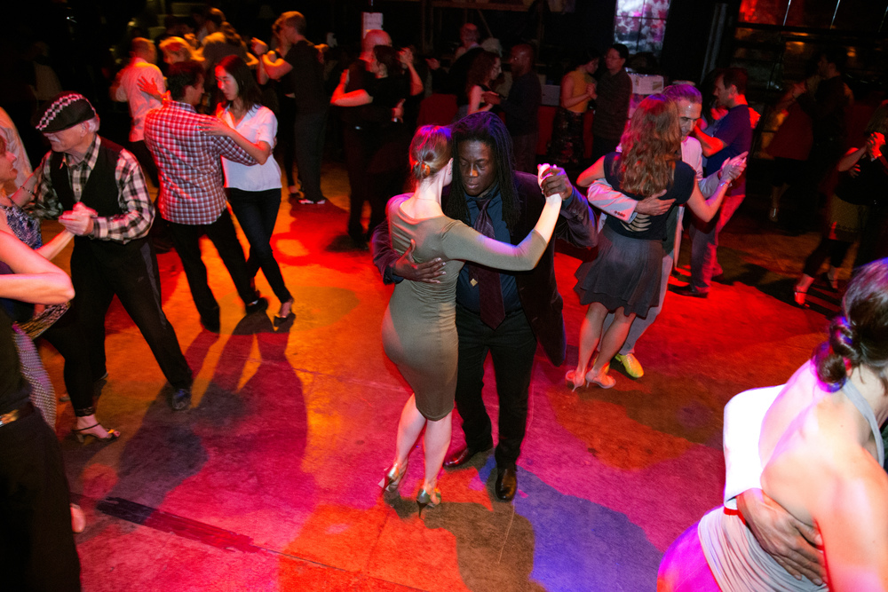 Skyler Cooper dances Milonga with Julia Zharova at CellSpace on Bryant Street between 18th and 19th Street Wednesday April  8, 2015.