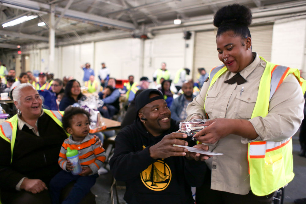 Jasmin Statham, SFMTA bus operator for 5 years wins first place in the non-international competitors at the San Francisco's 31st bus road-eo where bus operators compete in a series of driving and safety test including an obstacle course showcasing the drivers best skills at Cow Palace Saturday, April 2, 2016. (Emma Chiang/Special to S.F. Examiner)