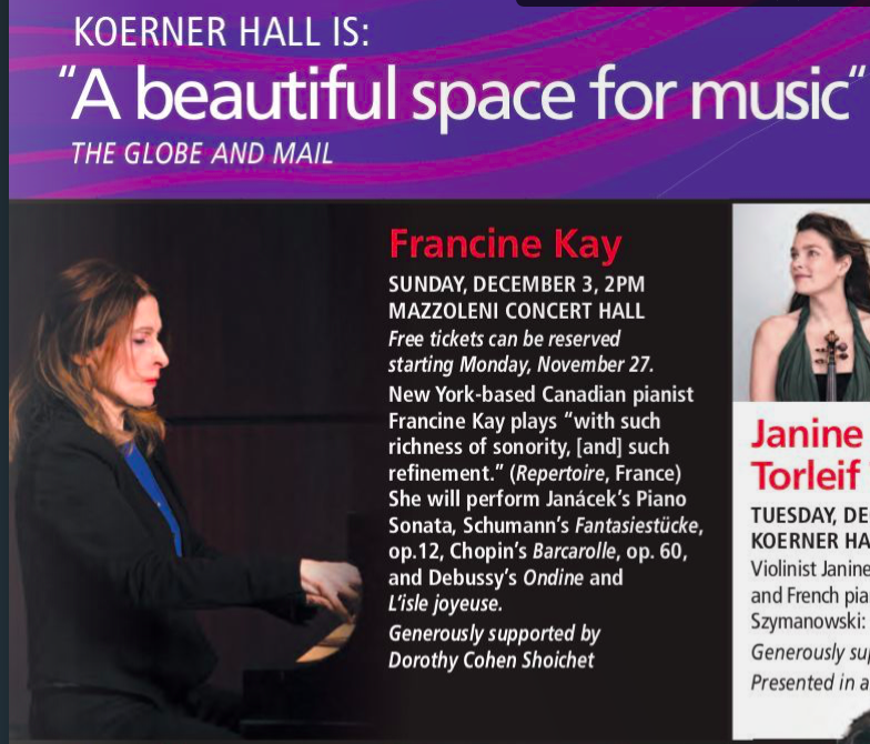 DECEMBER 3, 2017- MAZZOLENI HALL,    THE ROYAL CONSERVATORY, TORONTO, SOLO RECITAL