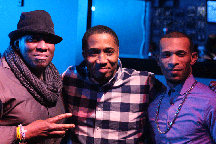From left to right: Terence Lee, Mahmoud Khan and Xazavian Valladay after a performance at The Joynt