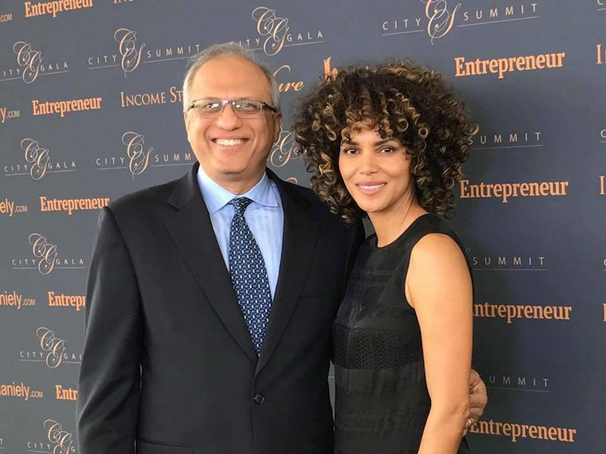In his element — AJ Jain advancing Feed a Billion with the help of philanthropic-minded celebrities such as Halle Berry (Image Courtesy of City Summit and Gala 2017)