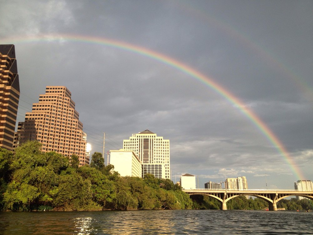 Double rainbow while kayaking in Austin, TX