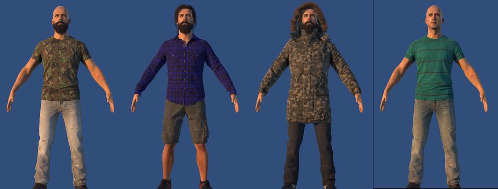 A few of the many clothing variations. There are about 80 different clothing items at the moment.