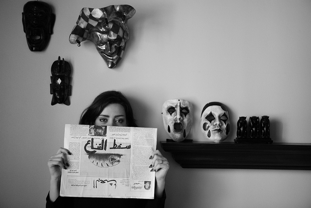 """ the mask has fallen ""  Alma Intabli - Journalist, Dubai 13/2/2012   30x45cm ed of 3+1AP Printed on Cotton Rag Fine Art Archival paper"