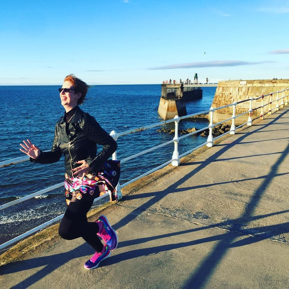 Running down the pier in Whitby on my birthday