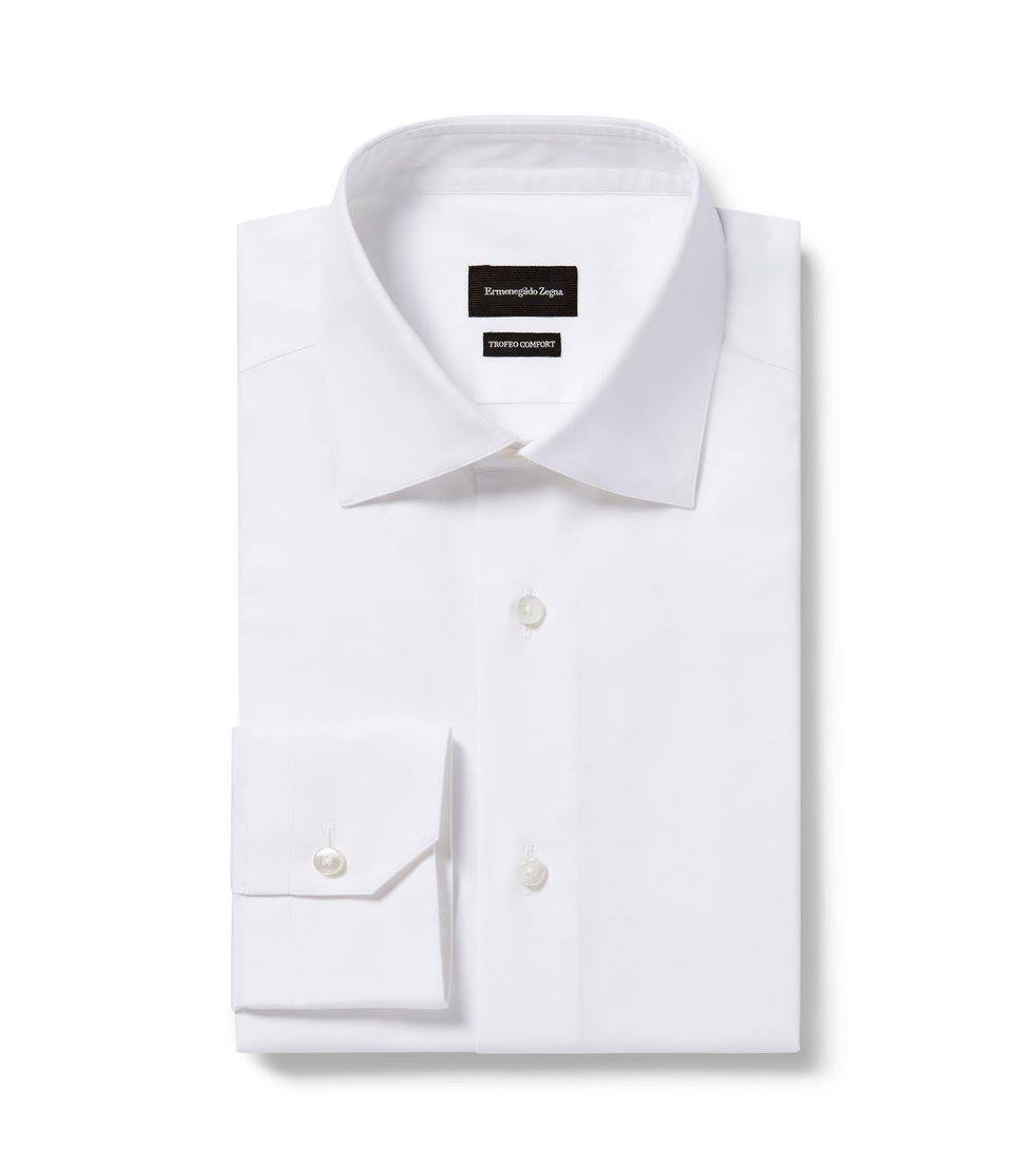 This white dress shirt is made with Trofeo Comfort cotton fibers, our longest and softest.