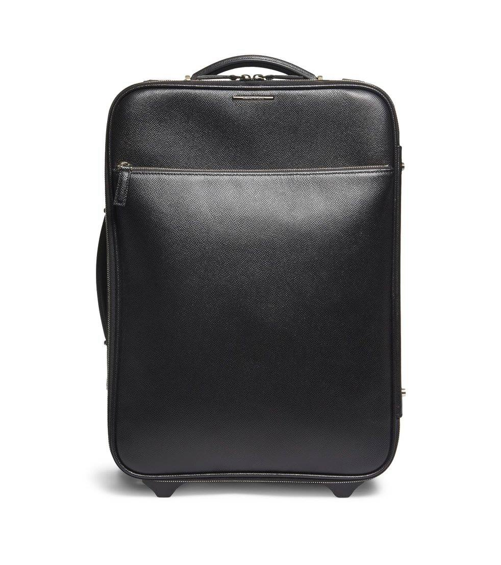This scratch-resistant calfskin bag will be a valued travel companion, its sophisticated, clean lines completing the look of the well-heeled traveler.