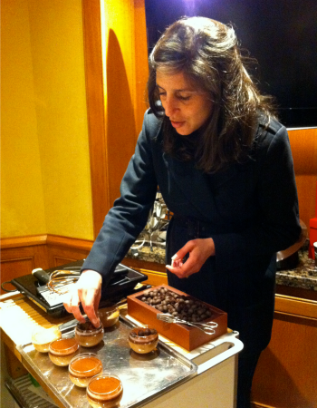 Getting creative with some chocolate mousse at La Maison du Chocolat - Paris.