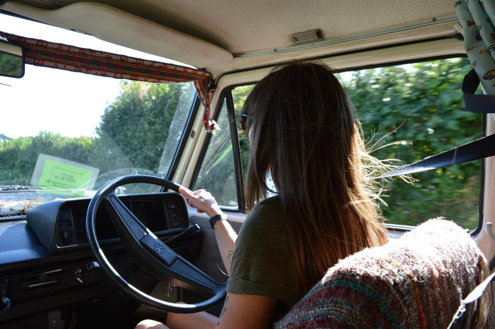 Jenny at the wheel.