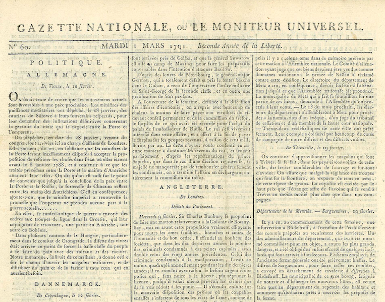Le Moniteur Universel : a French Revolutionary newspaper in Baskerville.